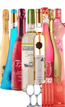 浪漫甜白起泡-8支装(礼袋+香槟杯+美景湾+风之彩+冰飞艳+蓝先锋+卢克斯+恋曲+粉猫+芳迷)