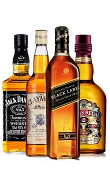 进口威士忌组合 黑方+剑威+芝华士+杰克丹尼