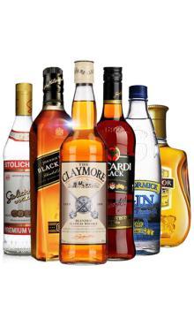 六大洋酒烈酒套装 温莎/麦克美金酒/百加得黑/苏连红/剑威/尊尼获加/黑方洋酒组合6瓶