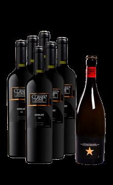 康纳斯顿梅洛干红葡萄酒(黑标)-6支装