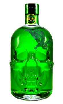 【洋酒】89.9度德国进口绿魔苦艾酒烈酒绿骷髅头含苦艾草送苦艾酒勺、杯子、酒版